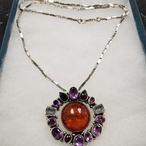 semi precious stones sterling silver necklace